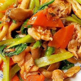 豚肉と小松菜のピリ辛炒め