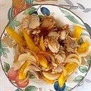ベビー帆立、玉葱、パプリカの炒め物