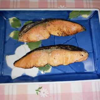 レンジ+焼き跡つけて仕上げる 時短焼鮭