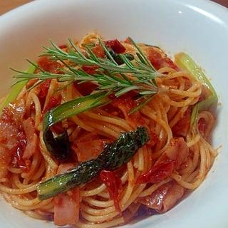 ベーコンと小松菜のスパゲティ・トマト感たっぷり☆