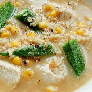 ダイエットにも❤鶏むね肉&オートミールのスープ♪