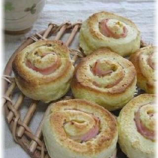 ホットケーキミックスにヨーグルト&ハムの渦巻きパン