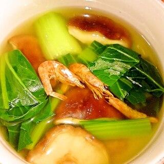 小松菜とシイタケのポン酢スープ