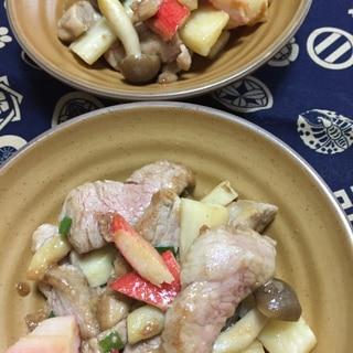 豚ヒレ肉と長芋のニンニク梅ソース炒め
