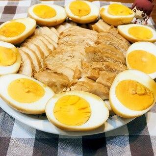 簡単夕飯!フライパンで鶏胸肉のチャーシュー&煮卵