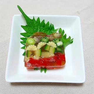 寒天で夏野菜のテリーヌ☆だしつゆで和風仕立て