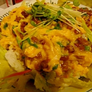 サラダご飯の納豆丼