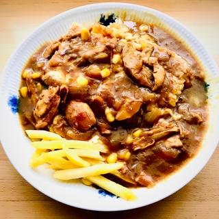 【コストコ】ロティサリーチキンを使った圧力鍋カレー