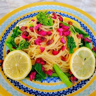菜の花と柴漬けの冷製レモンパスタ