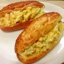 サラダチキンとゆで卵のコッペパンサンド