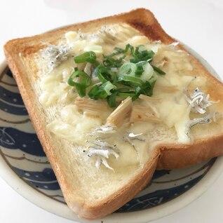 栄養満点ネギしらすえのきチーズのトースト♪