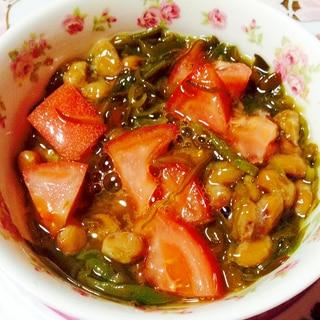 味付けメカブとトマトと納豆の小鉢❤︎