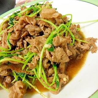 牛肉と豆苗のオイスターソース炒め