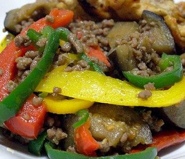 挽肉茄子の味噌炒め