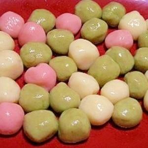 ○○○- 基本の三色☆ふわふわ豆腐白玉団子☆冷凍可