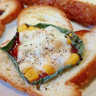 大葉とコーンのダブルチーズデニッシュパン