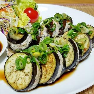 簡単ヘルシーダイエット★鶏ムネ豆腐の茄子の肉詰め