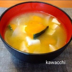 ほっこり♡かぼちゃと豆腐と玉ねぎのお味噌汁