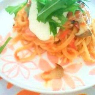 ちょっぴり変わったトマトクリームスパゲッティ