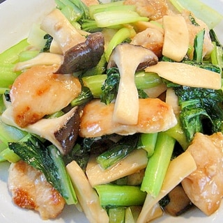 小松菜エリンギ鶏肉の炒め物