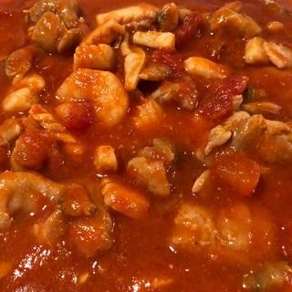 【簡単・スピード】鶏肉とシーフードのトマト煮