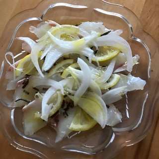 鯛の塩昆布レモンカルパッチョ