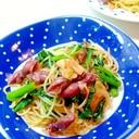 春の味、ほたるいかとかき菜でパスタ