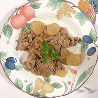 豚こま切れ肉、ヤーコン、玉葱の炒め物