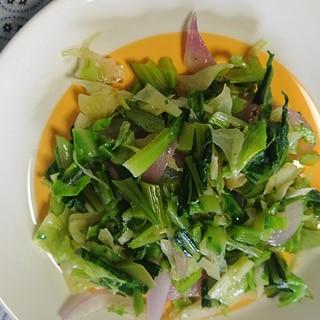 小松菜とキャベツ、玉ねぎの野菜炒め