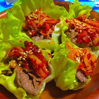 レタスと牛肉の焼きキムチサラダ★