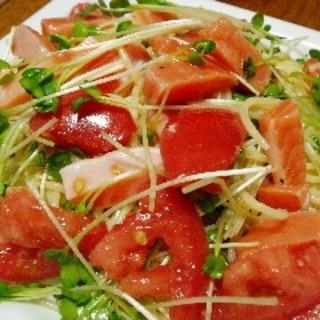 混ぜるだけ☆サーモンとトマトの冷製パスタ