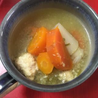 生姜たっぷり ネギ、にんじんと鶏団子のスープ