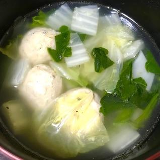 白菜とほうれん草のつみれスープ