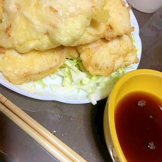 本場の味。酢醤油で食べる鶏天!!