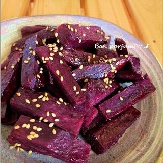 紫芋でお芋スティック・大学芋風