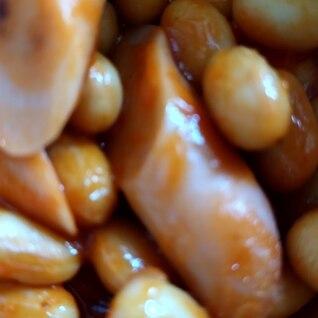 簡単!大豆とお魚ソーセージのケチャップ炒め♪