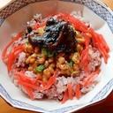 3分!手作り海苔の佃煮で❤紅生姜の納豆ご飯♪