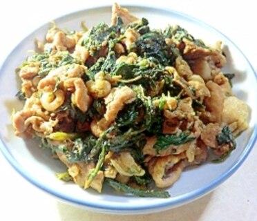 シンプルな味付け、豚肉と春菊の味噌炒め