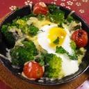 グリルパンで、ブロッコリートマト卵のチーズ焼き