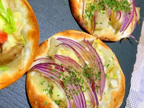 餃子の皮de新玉葱×紫玉ねぎのピッツァ