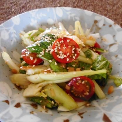 ちんげん菜とセロリとプチトマトの中華サラダ