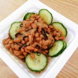 きゅうりと塩昆布の納豆