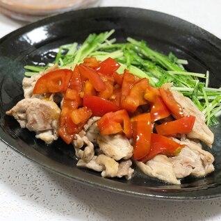 豚肉と水菜のトマトのせ☆
