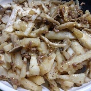山芋の挽き肉炒め