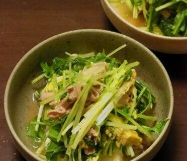 【簡単】水菜と豚肉のさっと煮。