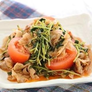 豆苗と豚バラのスパイシー炒め