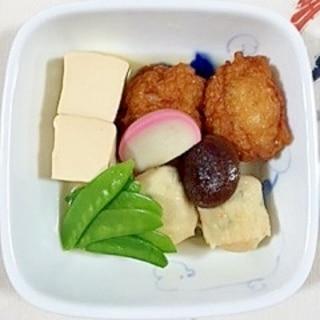 玉ねぎ坊主と、つみれの煮物