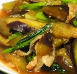 なすと小松菜のオイスターソース炒め煮