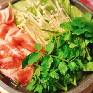 優しい酸味!豚肉と旬のクレソンの和風レモン鍋
