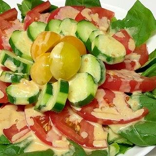 みそマヨ 小松菜 トマト きゅうりサラダ♪
